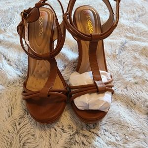 SOLD Light Brown Wedge Sandals